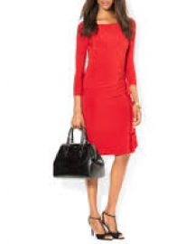 Lauren Ralph Lauren Dress - Boat Neck Matte Jersey Ruffle Detail in Red at Bloomingdales
