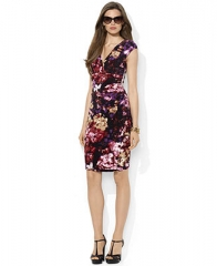 Lauren Ralph Lauren Dress Cap-Sleeve Ruched Printed A-Line - Dresses - Women - Macys at Macys