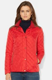 Lauren Ralph Lauren Faux Leather Trim Quilted Jacket at Nordstrom