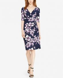 Lauren Ralph Lauren Floral-Print Faux-Wrap Dress at Macys