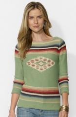 Lauren Ralph Lauren Intarsia Knit Cotton andamp Linen Sweater at Nordstrom