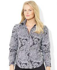 Lauren Ralph Lauren Long-Sleeve Paisley-Print Silk Shirt - Tops - Plus Sizes - Macys at Macys
