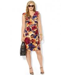 Lauren Ralph Lauren Plus Size Dress Cap-Sleeve Floral-Print Faux-Wrap - Plus Size Dresses - Plus Sizes - Macys at Macys