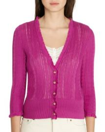 Lauren Ralph Lauren Pointelle Knit Cardigan at Bloomingdales