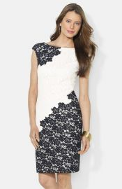 Lauren Ralph Lauren Two-Tone Lace Sheath Dress at Nordstrom