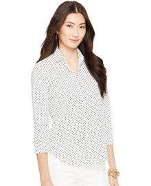 Lauren Ralph Lauren Wrinkle-Resistant Polka-Dot Shirt at Macys