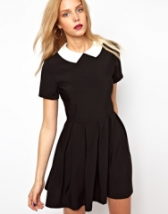 Lavish Alice  Lavish Alice Structured Skater Dress With Contrast Collar at Asos