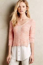 Layered Aselin Pullover in Rose at Anthropologie