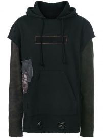 Layered Look Distressed Hoodie by Hudson at Farfetch