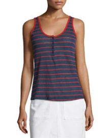 Le Nautical Striped Henley Tank Red Stripe at Neiman Marcus
