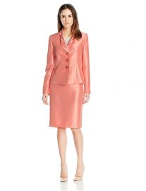 Le Suit Women s Shiny 3 Button Jacket Skirt  2 at Amazon