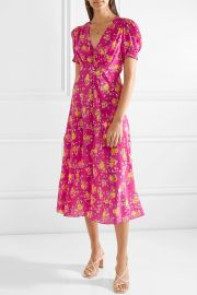 Lea Silk Midi Dress by Saloni at Net A Porter