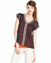 Leaf print top by Maison Jules at Macys