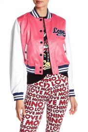 Leather Colorblock Jacket by Moschino at Farfetch