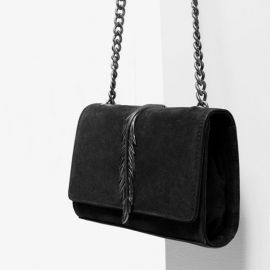 Leather Cross Body Bag with Metal Detail at Zara