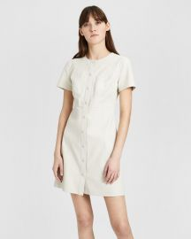 Leather Easy Snap Shift Dress at Theory