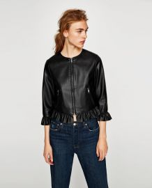 Leather Effect Frilled Jacket at Zara