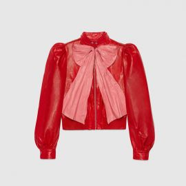 Leather Jacket with Bow at Gucci
