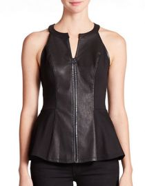 Leather Peplum Top by Guess at Lord & Taylor