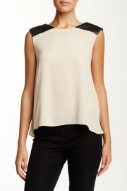 Leather Shoulder Silk Blend Muscle Tank at Nordstrom Rack