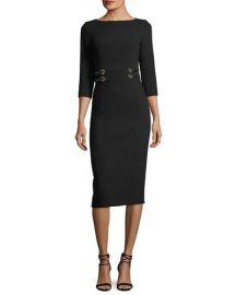 Leather-Trim Boucle Crepe Sheath Dress by Michael Kors at Bergdorf Goodman