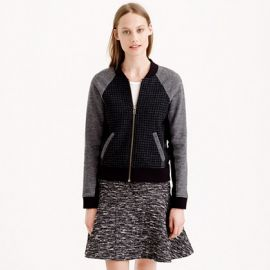 Leather Trim Mix Bomber Jacket at J. Crew
