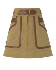Leather Trimmed Khaki Skirt at Intermix