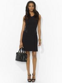 Leather Trimmed V Neck Dress at Ralph Lauren