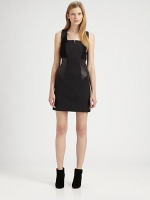 Leather and ponte dress by Yigal Azrouel at Saks at Saks Fifth Avenue