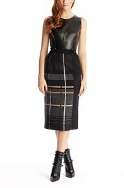 Leather and wool plaid dress at Hugo Boss