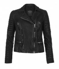Leather biker jacket in black at All Saints
