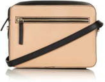 Leather boxy cross body bag at Topshop