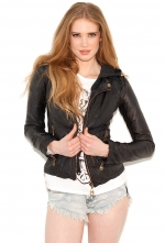 Leather hooded moto jacket by Doma at Boutique To You