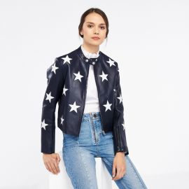 Leather jacket with stars at Sandro