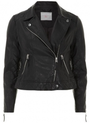 Leather look biker jacket at Dorothy Perkins