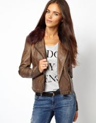 Leather look biker jacket by River Island at Asos