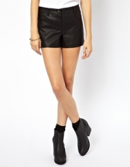 Leather look shorts at Asos