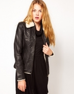 Leather shearling jacket from ASOS at Asos