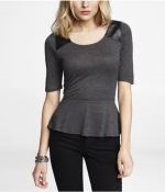 Leather shoulder tee at Express at Express