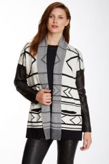Leather sleeve cardigan by Cynthia Vincent at Nordstrom Rack