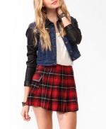 Leather sleeve denim jacket at Forever 21 at Forever 21