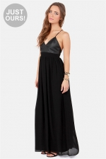 Leather top maxi dress at Lulus