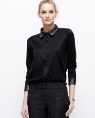 Leather trim blouse at Ann Taylor