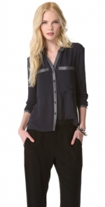 Leather trim blouse by Helmut Lang at Shopbop