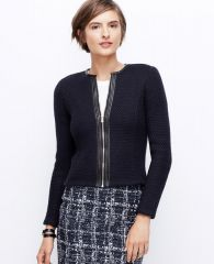 Leather trim sweater jacket at Ann Taylor