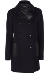 Leather trimmed coat by DKNY at The Outnet