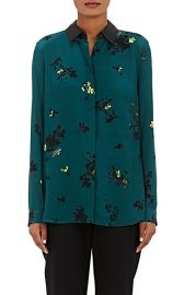 Leather trimmed floral blouse at Barneys Warehouse