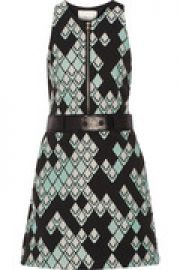 Leather-trimmed jacquard mini dress at The Outnet