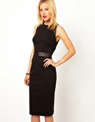 Leather trimmed pencil dress at Asos