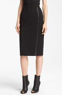 Leather trimmed pencil skirt by Burberry at Nordstrom